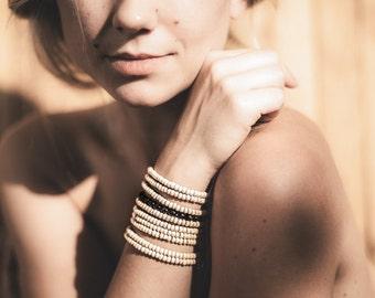 Beige and Brown wooden beads on elastic string Handmade Bracelet