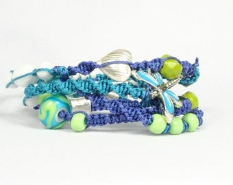 Macrame wrap bracelet, necklace, Turquoise blue lime green, CarolMade M25