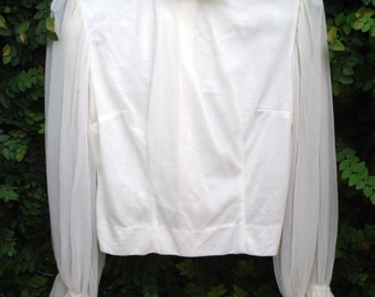 Vintage Wedding Style Sheer Blouse Size Small