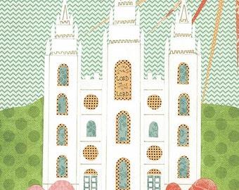 Salt Lake Temple Collage digital download