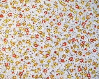 Vintage Sheet Fabric Fat Quarter - Tiny Orange and Yellow Roses