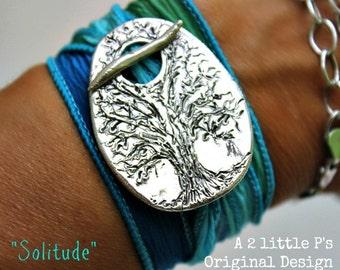 Silver Silk Wrap Bracelet Handcrafted Original Design Art Jewelry