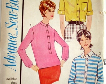 "Vintage 1963 Advance 3394 Sew Easy Blouses Sewing Pattern Size 18 Bust 38"" UNCUT"