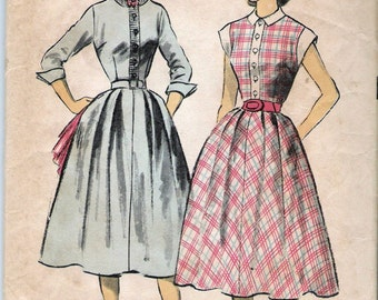 """Vintage 1952 Advance 6002 Sew-Easy Teen-Age Fashion One-Piece Dress Sewing Pattern Size 12 Bust 30"""""""