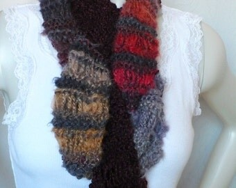 Hand Knit Scarf, Long Fashion Scarf, Art Yarn Scarf, Striped Scarf, Boho Scarf, Fall Fashion Accessories, Ready to Ship