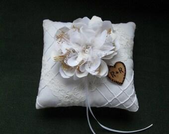 Personalized Ring Bearer Pillow - Rustic Burlap and Lace Wedding Pillow - Rustic White Wedding Pillow