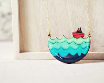 Little Red Boat Necklace - dreamy nautical whimsical necklace Christmas gift guide