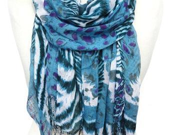Animal Print Scarf. Leopard Scarf. Blue Shawl. Cotton Shawl. Zebra Scarf. Animal Lovers Scarf. Woman Scarf. 27x65in (70x165cm) Ready2Ship