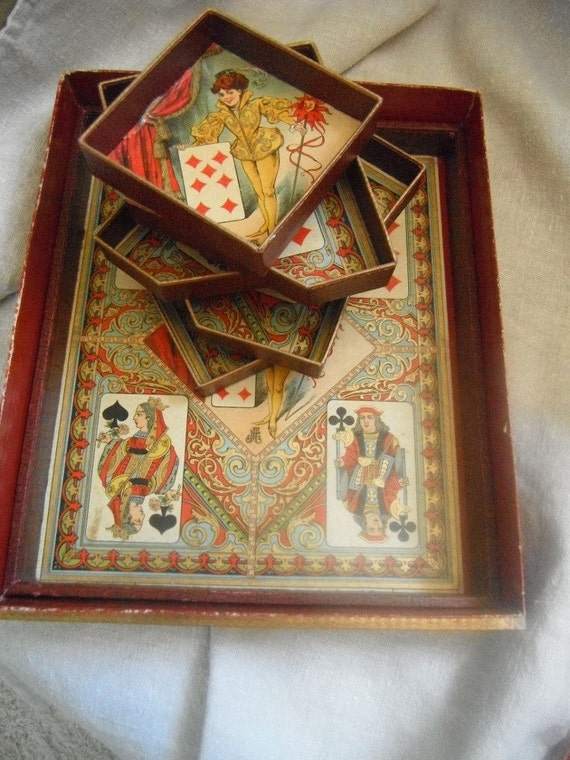 French Vintage Antique Games Printed French Home