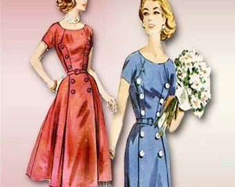1950s Dress Pattern McCalls 4435 Mid Century Dressy Day Dress with Two Skirt Options Size 18 bust 38