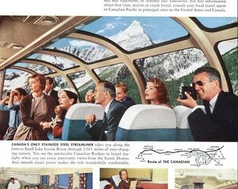 1949 Canadian Pacific Railroad Ad Scenic Domes Streamliner Train
