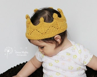 Baby infant knit headband, newborn Knit Headband, GOLD Newborn Crown Headband, Modern Newborn Headband, Modern Baby Headband Accessories
