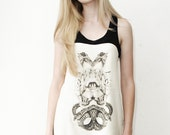 Cat snake and bird shirt - black and white graphic tunic with racerback, nu goth soft grunge punk - ethical fashion