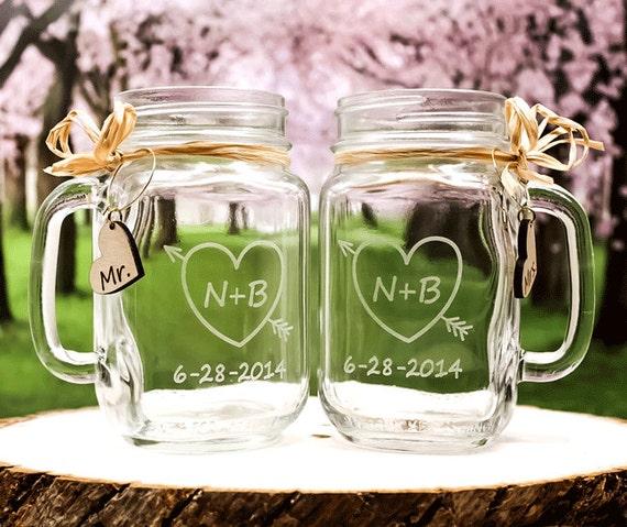 Mason Jars At Weddings: Toasting Glasses / Personalized Wedding Mason Jar Glasses
