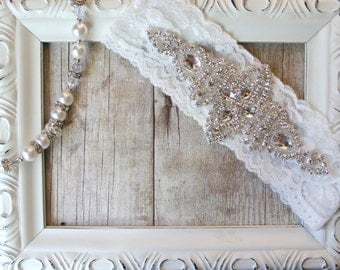 Customizable Vintage Wedding Garter with Sparkling Crystal Rhinestones on Comfortable Lace, Bridal Garter, Crystal Garter,