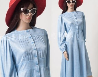 Vintage 60s Dress, Vintage Blue Dress, Mad Men Dress, Vintage Aline Dress - M