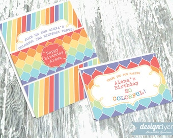 Rainbow Party Invitation Personalized DIY Printable