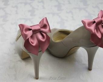 Dark Pink Shoe Clips, Dark Pink Bow Shoe Clip, Pink Wedding Accessories Shoes Clip, Pink Bow Clip Shoes