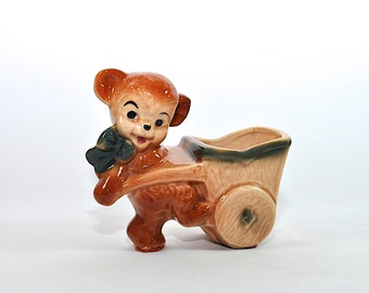 Vintage Planter, Teddy Bear Planter, Nursery Planter, Nursery Decor, Succulent Planter, Animal Planter, Baby Shower Gift