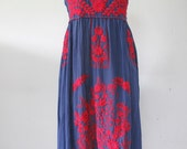 Mexican Embroidered Sundress Cotton Strapless In Blue With Lining, Boho Dress