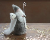 READY TO SHIP-Needle Felted King Winter, Waldorf, Grey, Elsa Beskow, Toy, Doll, Puppet, Story, Wool Figure, Natural, Jack Frost