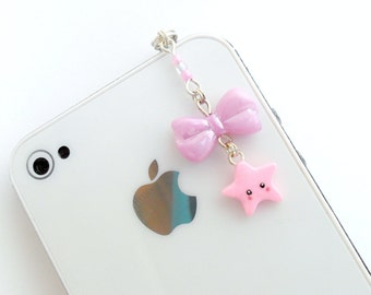 Kawaii Lolita Pink Bow & Star Dust Plug Charm, For iPhone or iPod, Phone Plug, Cute :D