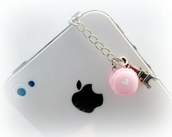 Macaron Eiffel Tower Dust Plug Charm, For iPhone or iPod, Kitsch Tiny Macaroon, Phone Charm, Cute And Kawaii :D