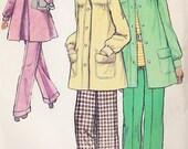 70s RETRO vintage Sewing Pattern Simplicity 5411 Fab Back Pleat Smock Jacket Coat Figure Flattering High Waist Wide Leg Cuffed Pants Size10