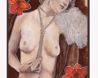 Print reproduction of an original Art Nouveau painting, Poesia de Decadencia by Tuulia Tamminen - Size A3