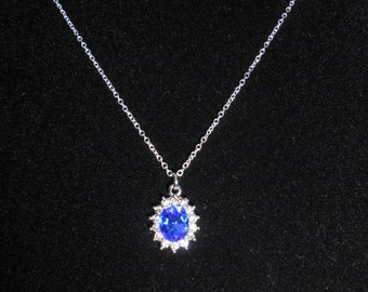 Faux Sapphire Necklace Oval Pendant Necklace Inspired by Kate Middleton's Engagement Ring Christmas Gifts Under 20 Dollars Gifts for Her