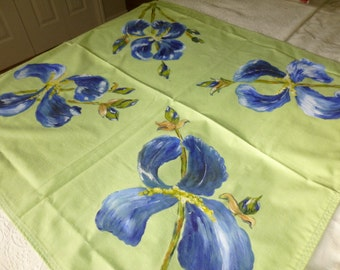 Blue Iris Hand Painted  Tablecloth 42 x 42