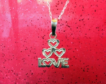 "14k Yellow Gold ""Love"" Pendant  on 18"" 14K Yellow Gold Chain (st - 869)"