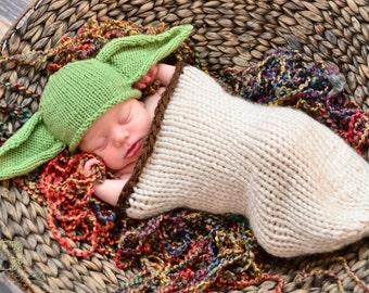 Baby Yoda Hat, Newborn Yoda Hat, Yoda Costume, Newborn Photo Prop, Yoda Hat