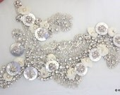Swarovski Crystal, Pearl, Silver Beaded Applique Wedding Bridal Accessories