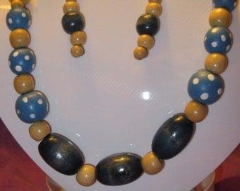 Shades of BLUE and POKADOT WOODEN Beads Jewelry Set