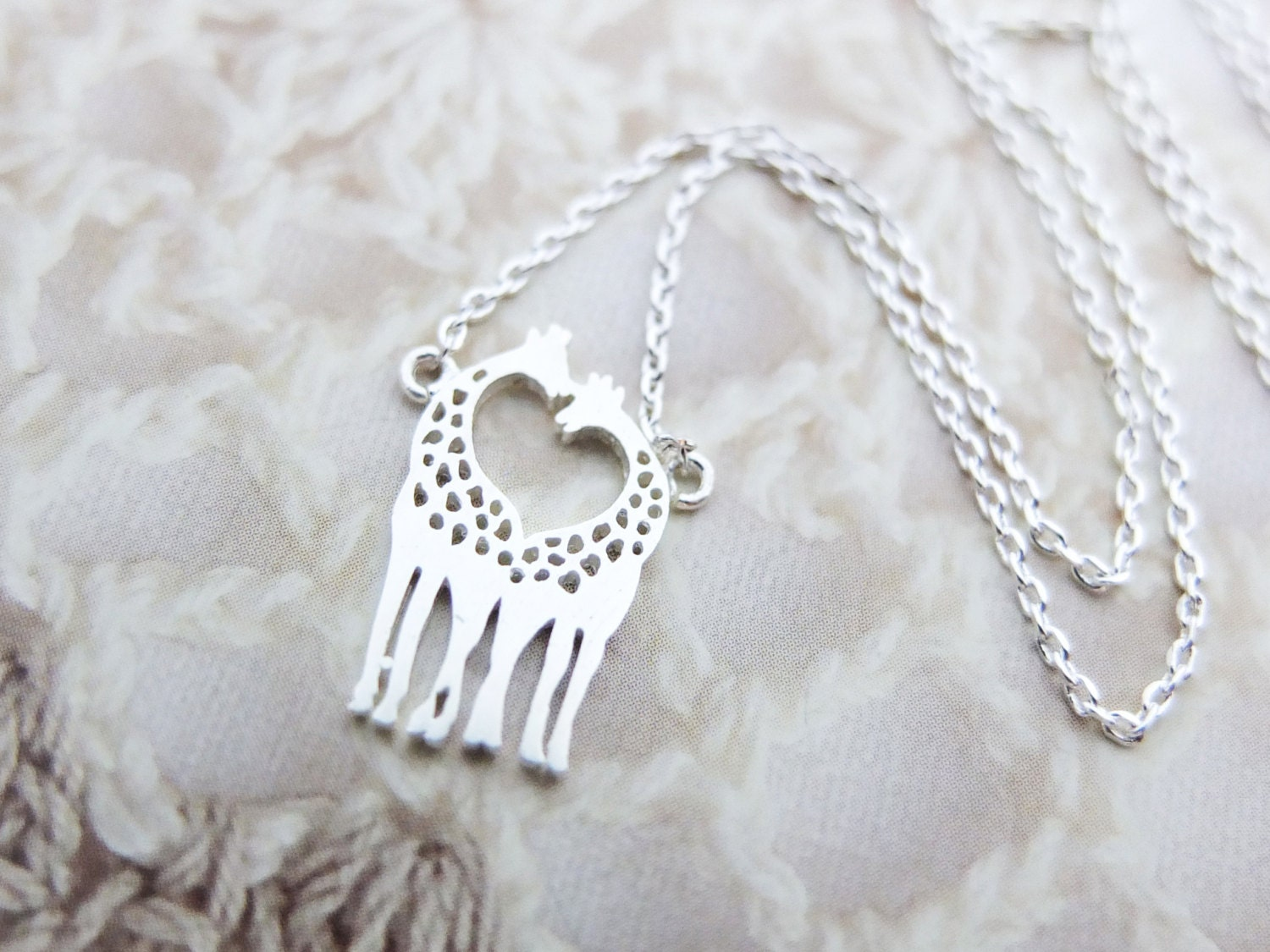 Love Giraffe Necklace Silver necklace Animal by ...