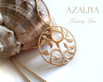 Tree of Life Necklace with White Opal Quartz. Azaliya Luxury Line. Birthday Necklace. Wedding, Bridesmaids Necklace. Bridal Necklace. Gift.
