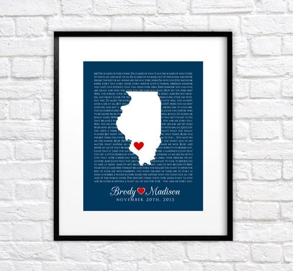 Movie Quotes, Custom Wedding Gift - Personalized Map Art Print, Lyrics ...