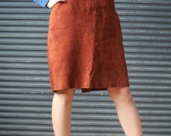 Vintage brown suede pencil skirt, 1980s