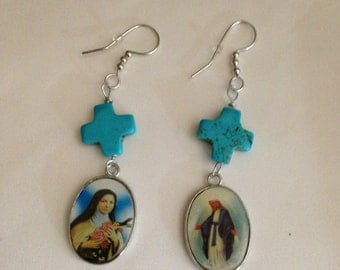 Turquoise Cross Earrings With Religious Medals