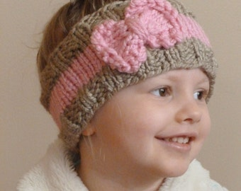 KNITTING PATTERN The Bo Peep Headband, Toddler Knit Ear Warmer Pattern, Bow H...