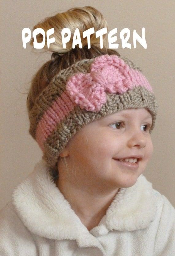 KNITTING PATTERN The Bo Peep Headband, Toddler Knit Ear Warmer Pattern, Bow H...