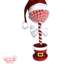 Santa Claus Christmas Lollipop Centerpiece, Christmas Centerpiece, Christmas Table, Centerpiece, Candy Buffet, Christmas, Lollipop, Candy
