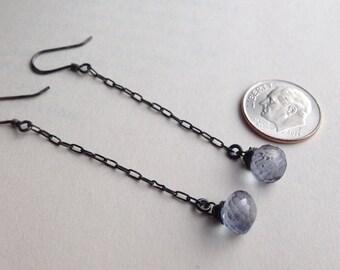 Rain Drops-Blue Mystic Quartz On Oxidized Sterling Silver Dangle Earrings FREE SHIPPING