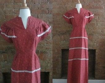1930s brick red floral cotton dress | 30's 40's novelty print long dress | Hush Sweet Charlotte