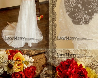 Fairy Tale Sheath Style Lace Wedding Dress with Soft Lace Bolero, Features Deep Lace Trimmed Neckline and Straps, Comes with Satin Sash