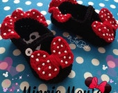 Minnie Mouse Mary Janes with Ruffles - any size newborn to adult