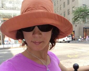SALE Sun Hat, Wide Brim Women Sun Hat, DISCONTINUED Summer hat, Price REDUCED, Original price 55 dollars, Terracotta sun hat Large size