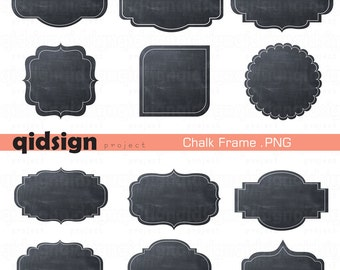 Chalkboard Frames Tag Digital Clipart Journal Tag Scrapbook INSTANT DOWNLOAD