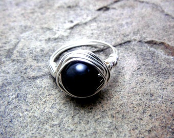 Black Obsidian Ring, Black Ring, Wire Wrapped Ring, Wire Wrapped Jewelry Handmade, Black Gemstone Ring, Black Stone Ring